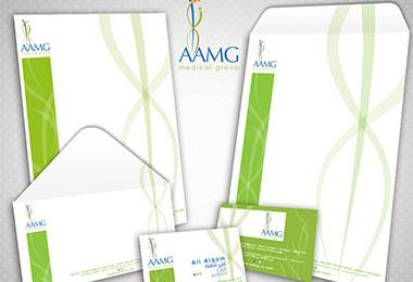 Corporate identity for a medical company, includes business cards, envelope, letterhead